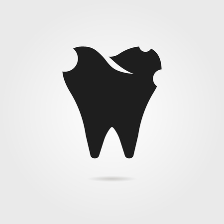 implantation: dental caries with black tooth icon. concept of dental surgery, implant protection, healthcare, toothpaste, implantation. isolated on gray background. flat style modern design illustration