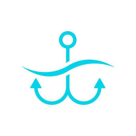 mooring anchor: blue anchor on white background. concept of maritime, underwater, tourism, cartography, secure, offshore, anchored, mooring, dock. flat style trend modern brand design