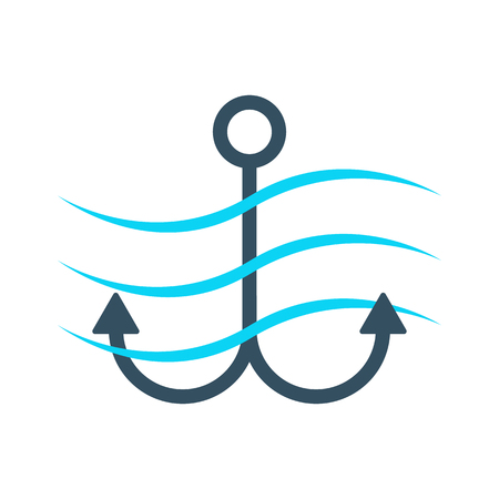 mooring anchor: simple anchor icon with waves. concept of maritime, underwater, tourism, offshore, anchored, mooring, dock. isolated on white background. flat style trend modern brand design illustration