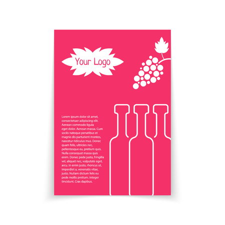 sommelier: colored brochure for wine shop. concept of drunk, alcoholic, celebrate, cocktail, glassware, sommelier, postcard. isolated on white background. flat style trend modern design illustration