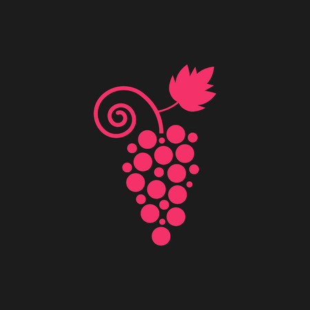 wine store: pink grape icon on black background. concept of vegetarian, organic, wine store mark, sommelier, healthy diet, grapevine, winemaking. flat style trend modern design  illustration