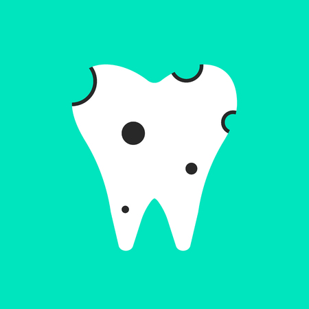 carious: holey white tooth icon. concept of clinic, treatment, carious, stomatological clinic, implant, diagnosis of teeth. isolated on green background. flat style trend modern design illustration Illustration