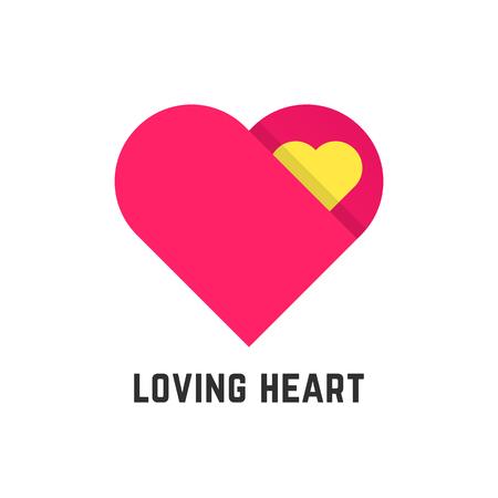 odd job: pink loving heart symbol like postcard. concept of greeting, care, mother love, relationship, birthday odd job. isolated on white background. flat style trend modern design illustration Illustration