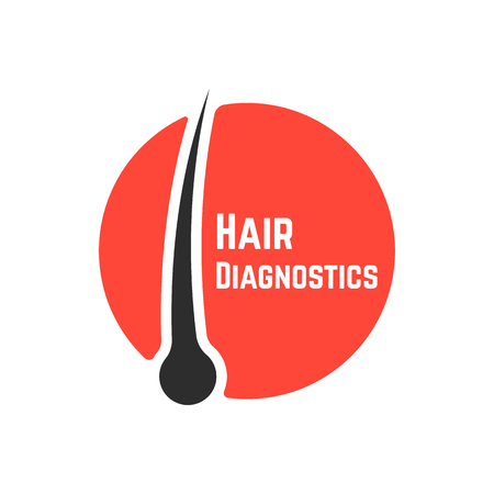 hair follicle diagnostics sign. concept of tricholog aid clinic, split ends, hair loss, alopecia, shampoo, hairline. isolated on white background. flat style trend modern brand design vector illustration