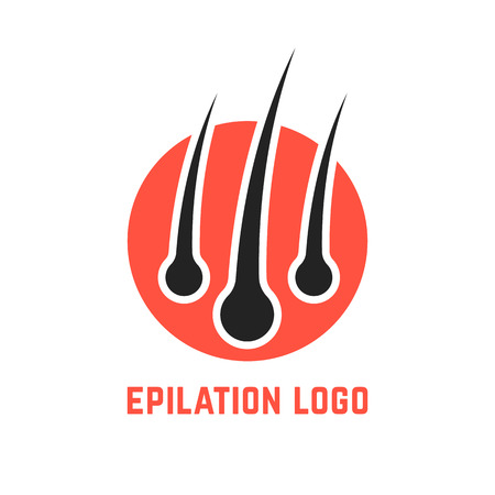 epilation logo with hair root. concept of tricholog aid clinic, split ends, hair loss, alopecia, beauty salon. isolated on white background. flat style trend modern brand design vector illustration