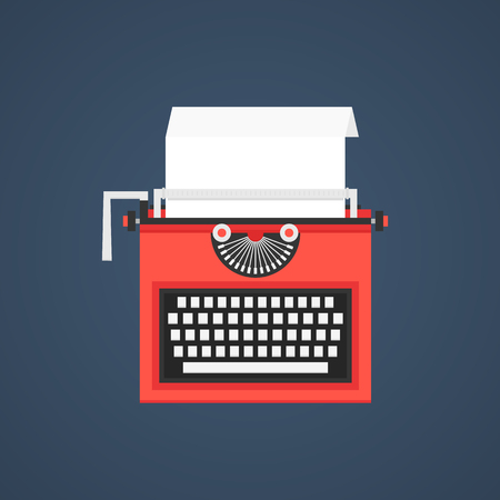 scriptwriter: red typewriter isolated on dark blue background. concept of storytelling, scriptwriter, typing, copywriter, journalist, typewriting, announcement. flat style trend modern design vector illustration