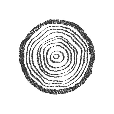 plywood: black scribble tree ring. concept of eco, topography, pine symbol, plywood structure, sawmill stump, timber. isolated on white background. sketch style trend modern  design vector illustration