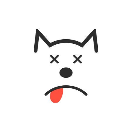poisoning: simple dead dog icon. concept of poisoning, poor diet, loss, mercy-killing, vet clinic, veterinarian. isolated on white background. flat style trend modern  design vector illustration