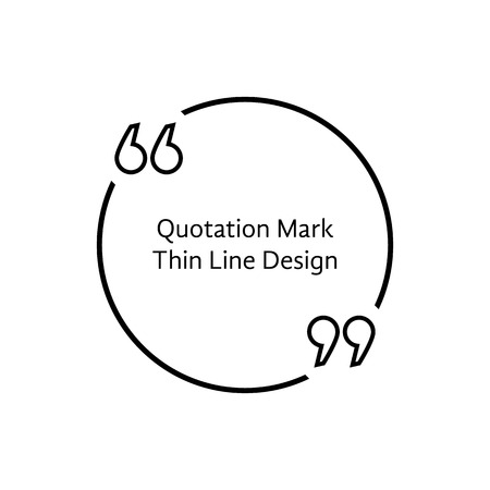 citing: thin line quotation mark. concept of citation, info, testimonials, notice, textbox, mention, memo, info, citing. isolated on white background. flat style trend modern  design vector illustration