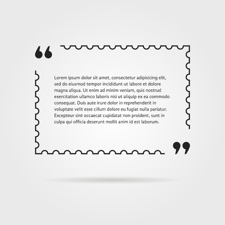 citing: citation in thin line postage stamp. concept of thoughts, notice, postcard, testimonials, aphorism, poster, expression. isolated on gray background. flat style trend modern design vector illustration Illustration