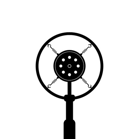 condenser: black retro microphone on white background. concept of news, message, announce, on the air, show, podcasting, recording, journalism. flat style trend modern design vector illustration