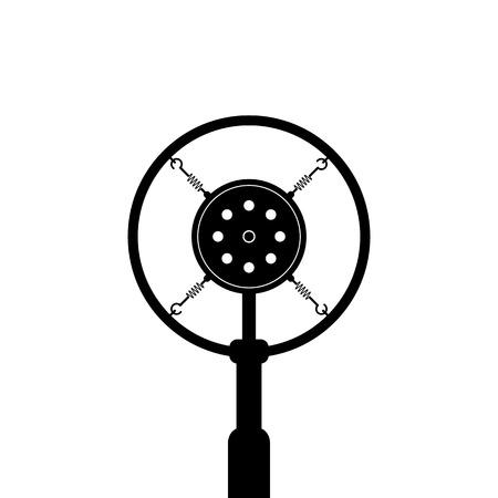 白い背景に黒のレトロなマイク。コンセプトのニュース、メッセージ、空気、ショー、ポッド キャスト、記録、ジャーナリズムに発表します。フラット スタイルの傾向現代デザイン ベクトル図