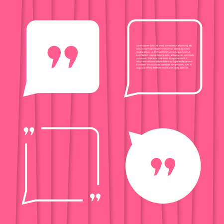 citation: set of citation on pink striped background. concept of forum, blogging, messenger, poster, expression, conversation, abstract backdrop, punctuation. flat style trend modern design vector illustration Stock Photo