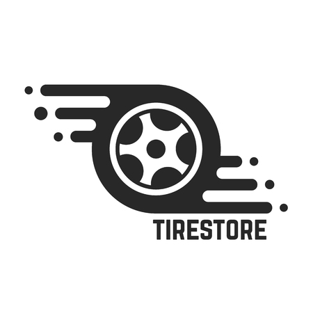 Reifen-Shop mit abstrakten Reifen. Konzept von 24 Stunden Unterstützung, Schutz, automatische Station, Wartung, Maschinenplatte. isoliert auf weißem Hintergrund. Flach Stil Trend moderne Marken-Design Vektor-Illustration Vektorgrafik
