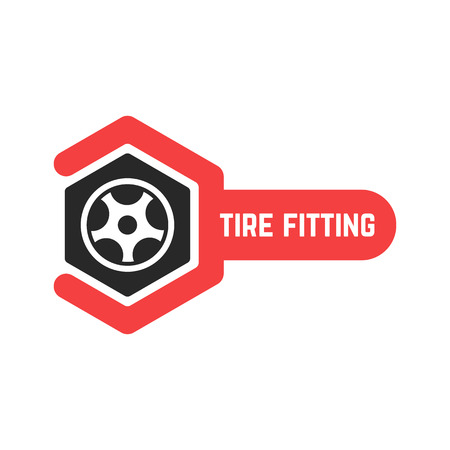 tire fitting: tire fitting logo with wrench. concept of 24 hour support, protector, auto station, maintenance, machine disk. isolated on white background. flat style trend modern brand design vector illustration
