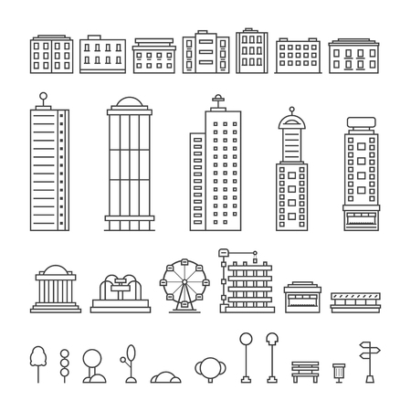 metropolis: black thin line city elements. concept of downtown, center, central park, office, metropolis, residential, life. isolated on white background. flat style trend modern logo design vector illustration