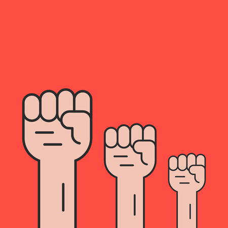 socialism: hands up like revolution protest. concept of communism, socialism, soviet, radical, patriotic, solidarity, uprising. isolated on red background. flat style trend modern logo design vector illustration