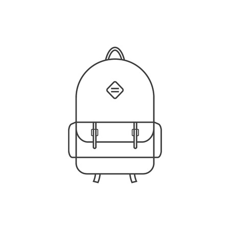 school kit: thin line black backpack icon. concept of camping recreation, route, haversack, schoolbag, touring, kids backpack. isolated on white background. flat style trend modern logo design vector illustration