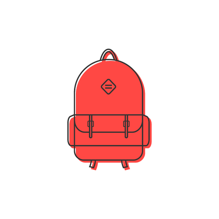 red backpack thin line icon. concept of camping recreation, route, haversack, kids schoolbag, touring. isolated on white background. flat style trend modern logotype design vector illustration Illustration