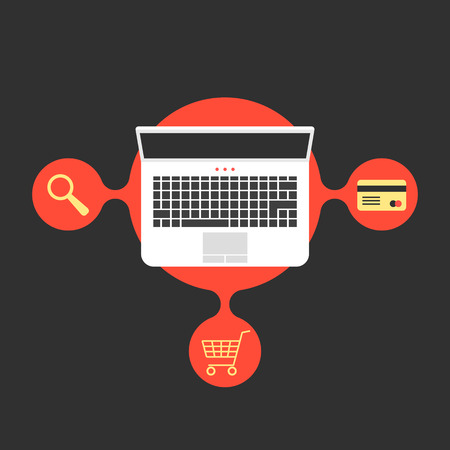 merchant: online shopping with laptop and red bubble. concept of merchant, finance, banking, on-line supermarket, transaction. isolated on black background. flat style trend modern design vector illustration