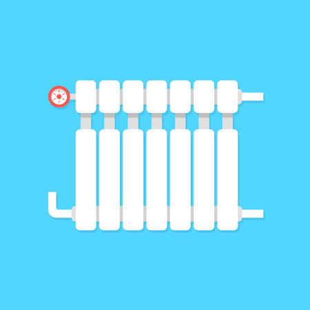lodging: radiator icon with temperature regulation. concept of interior comfort, iron pipe, cozy lodging, power heatsink, cooler. isolated on blue background. flat style trend modern design vector illustration