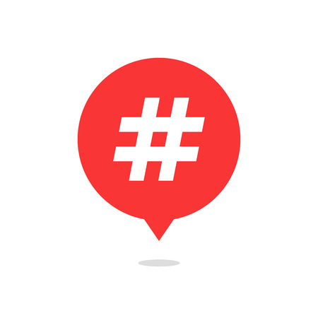 tweet icon: red speech bubble with hash tag and shadow. concept of number sign, social media, micro blogging, pr, popularity. isolated on white background. flat style trend modern logo design vector illustration