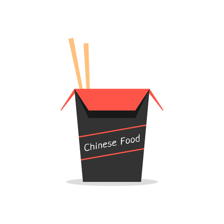 chinese take away container: red and black box with chinese food. concept of packaging, japanese food, foodbox, traditional cooking, kitchen. isolated on white background. flat style trend modern logo design vector illustration