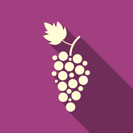 simple grape icon with long shadow. concept of winegrowering, liquor store, wine house, beverage, egetarian. isolated on purple background. flat style trend modern logotype design vector illustration