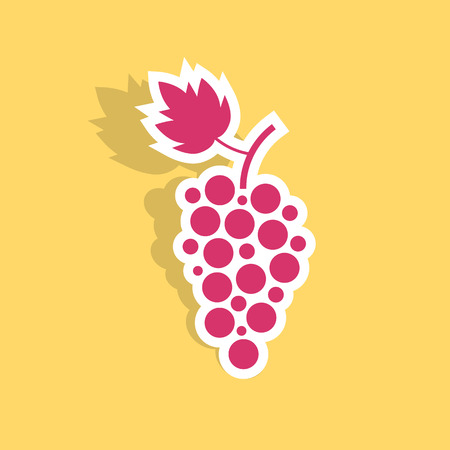 grape icon sticker with shadow. concept of winegrowering, liquor store, wine house, beverage, vegetarian. isolated on yellow background. flat style trend modern logotype design vector illustration