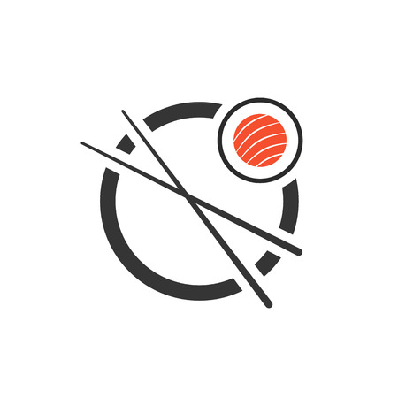 sushi roll with chopsticks icon. concept of company emblem, sashimi, maki, visual identity, minimal mark. isolated on white background. flat style trend modern brand design vector illustration