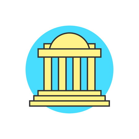 governmental: yellow justice building on blue circle. concept of capitol, univercity, institute, governmental, temple, tower. isolated on white background. flat style trend modern logo design vector illustration