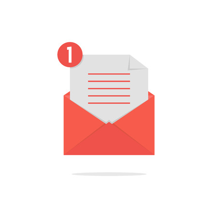 notify: red open envelope with check list and shadow. concept of newsletter, notify, support, incoming, confirm. isolated on white background. flat style trend modern logo design vector illustration