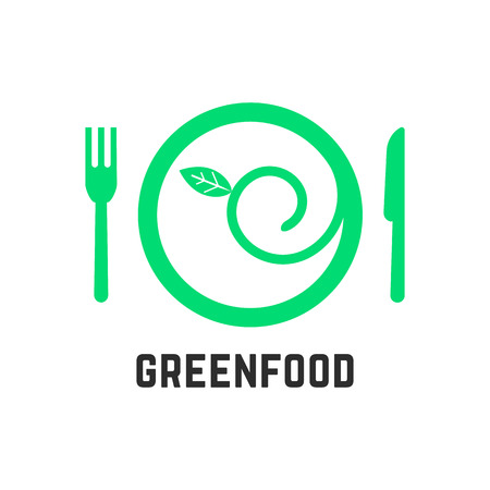 vegetarianism: green food logo with tablewares. concept of ecology, gastronomy, vegan cuisine, salad, healthcare, vegetarianism. isolated on white background. flat style trend modern brand design vector illustration
