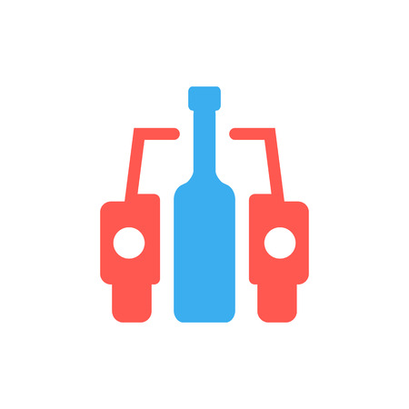 habit: car and bottle like drunk driver sign. concept of placard, drinker, bad habit, human problems, inebriate. isolated on white background. flat style trend modern logotype design vector illustration Illustration