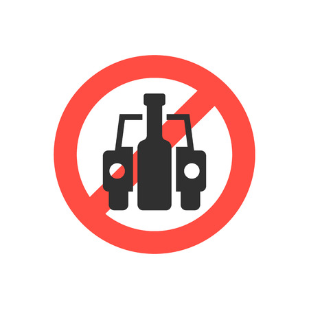 habit: prohibition sign no drink driving. concept of placard, drinker, bad habit, human problems, inebriate. isolated on white background. flat style trend modern logotype design vector illustration Illustration
