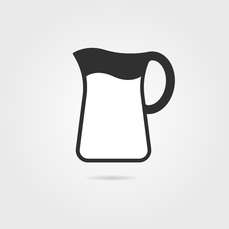 ewer: black pitcher with milk and shadow. concept of kitchenware, cooking utensils, earthenware, dishware, ewer. isolated on gray background. flat style trend modern logo design vector illustration