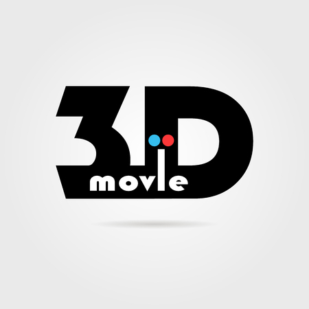 perception: 3d movie icon with shadow. concept of filmmaking, eyesight, widescreen, perception, binocular vision. isolated on gray background. flat style trend modern logotype design vector illustration