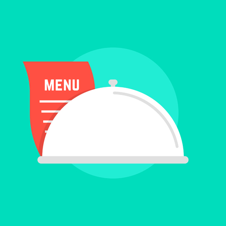 serving food: white dish icon with menu. concept of maintenance catering, servant, diner, celebration, serving, food delivery. isolated on green background. flat style trend modern logo design vector illustration Illustration