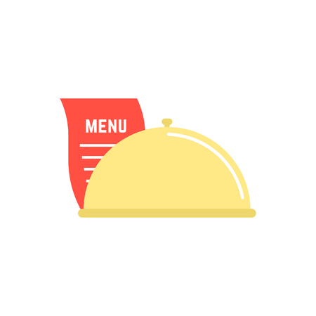 serving food: dish icon with menu sheet. concept of maintenance catering, servant, diner, celebration, serving, food delivery. isolated on white background. flat style trend modern logo design vector illustration