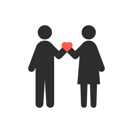 rendezvous: loving couple with heart in crossed hands. concept of relation, heterosexual, rendezvous, attitudes, happy couple. isolated on white background. flat style trend modern logo design vector illustration