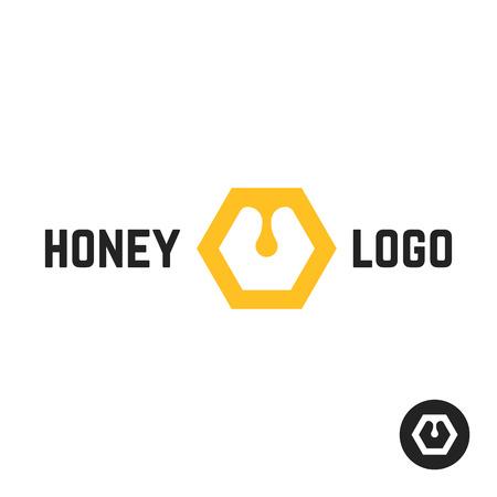Logo de miel avec signe abstrait. concept d'emblème miellé, promotion, sirop, douceur liquide, nectar. isolé sur fond blanc illustration vectorielle de style plat tendance marque moderne design Banque d'images - 69113647