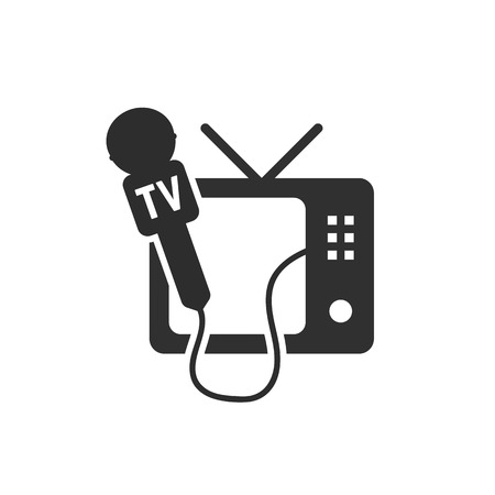 internet radio: black tv and microphone icon. concept of global internet radio, newspaper interviewing, speaking, tv channels. isolated on white background. flat style trend modern logotype design vector illustration