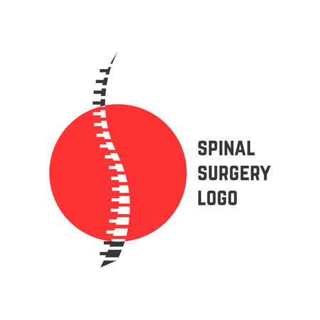 colored abstract spinal surgery logo. concept of vertebrae analysis, scoliosis, skeletal, hospital. isolated on white background. flat style trend modern brand logotype design vector illustration Illustration