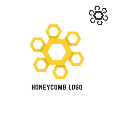 honeycomb like: honeycomb yellow logo like sun. concept of visual identity, promotion, syrup, liquid sweetness, honeyed nectar. isolated on white background. flat style trend modern brand design vector illustration Illustration
