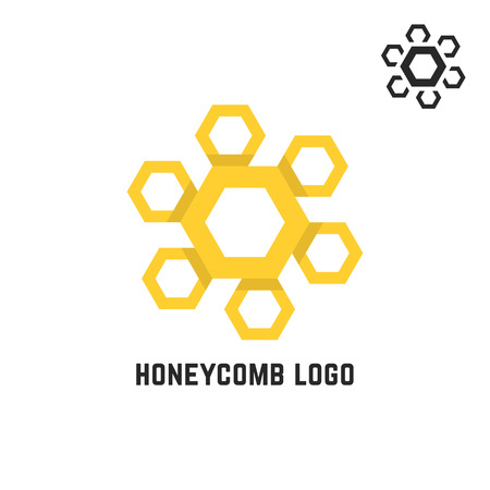 honeycomb yellow logo like sun. concept of visual identity, promotion, syrup, liquid sweetness, honeyed nectar. isolated on white background. flat style trend modern brand design vector illustration Illustration