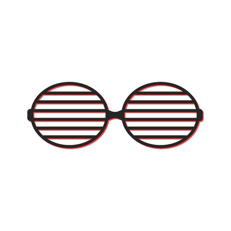 eyewear fashion: shutter sunglasses simple icon. concept of brindled or latticed sunglasses, fashionable accessory, youth glasses. isolated on white background. flat style trend modern logo design vector illustration