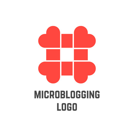 microblogging: microblogging logo with hashtag from hearts. concept of micro blogging, web communicate, pr, popularity, grid. isolated on white background. flat style trend modern logotype design vector illustration