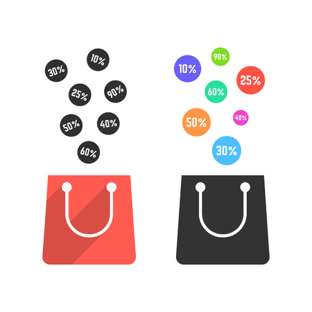 wholesale: two shopping bags with falling prices. concept of black friday sale, shopaholic, merchandise, seasonal sale, wholesale. isolated on white background. flat style trend modern design vector illustration