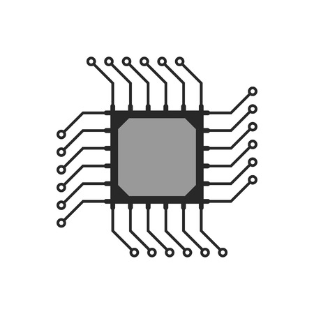 gpu: black abstract microchip circuit icon. concept of computing, technical equipment, chipset logic, circuitry. isolated on white background. flat style trend modern logo design vector illustration