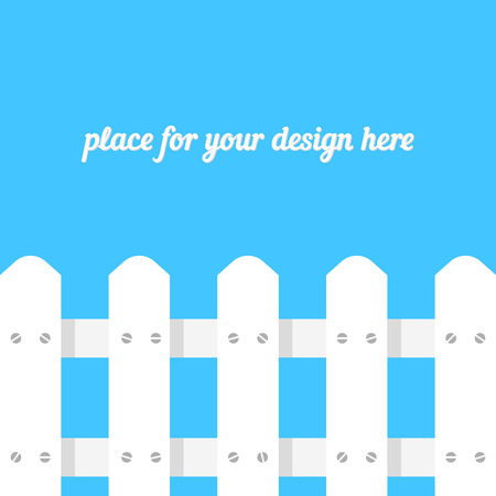 white fence on blue background. concept of boundary structure, simple paling, defense, pasture, footer site, design greeting card, timber panel. flat style trend modern design vector illustration Illustration